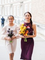 stylish bride and daughter