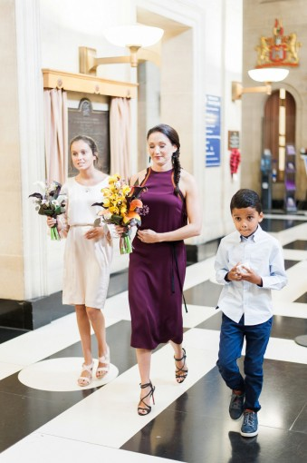 city hall wedding bride with children