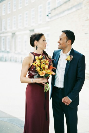 stylish city intimate wedding bride & groom