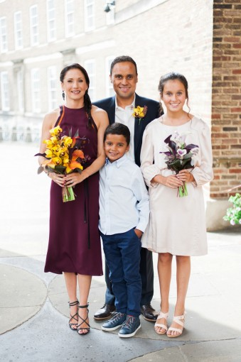 intimate city wedding stylish family