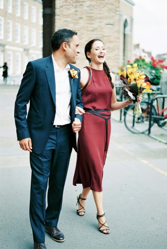 Chic city wedding with a marsala wedding dress