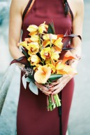 orange yellow orchid bouquet by tilly tomlinson flowers