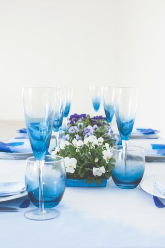 blue ombre table setting
