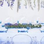 ombre blue wedding table setting