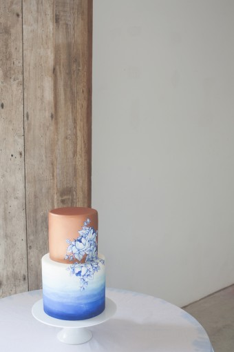 dip dye ombre blue & gold wedding cake