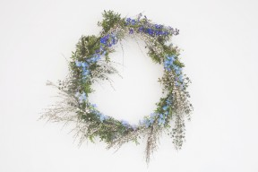 blue wild flower wreath