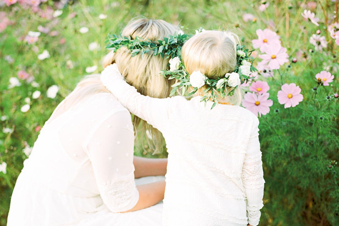 boho floral crown family shoot