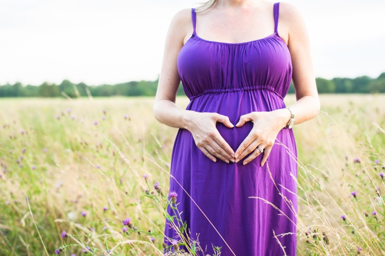 purple maternity session in a field