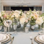 classic ivory, blush & grey table setting