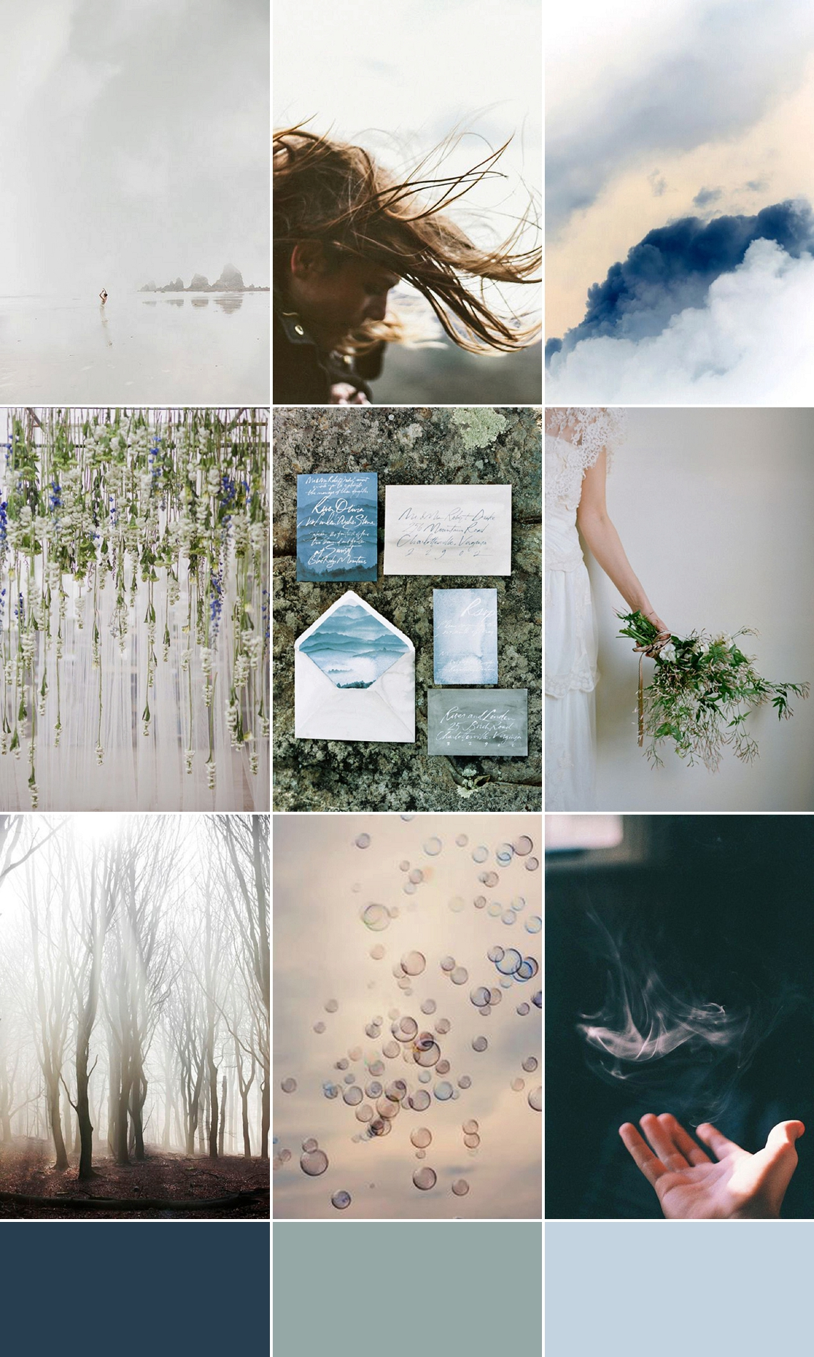 Air Wind Storm Cloud Blue Grey Wedding Inspiration