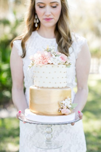 Pink & gold leaf polka dot wedding cake