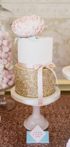 Pink & gold glitter wedding cake