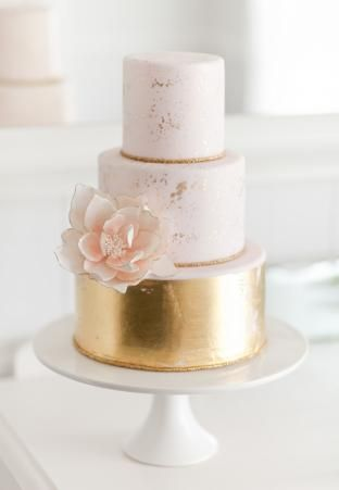 Pink & gold leaf wedding cake