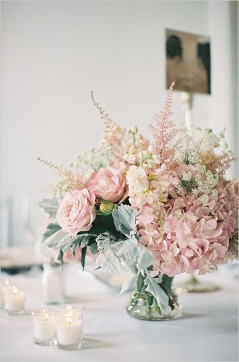 pink rose, astilbe and hydrangea centrepiece with dusty miller