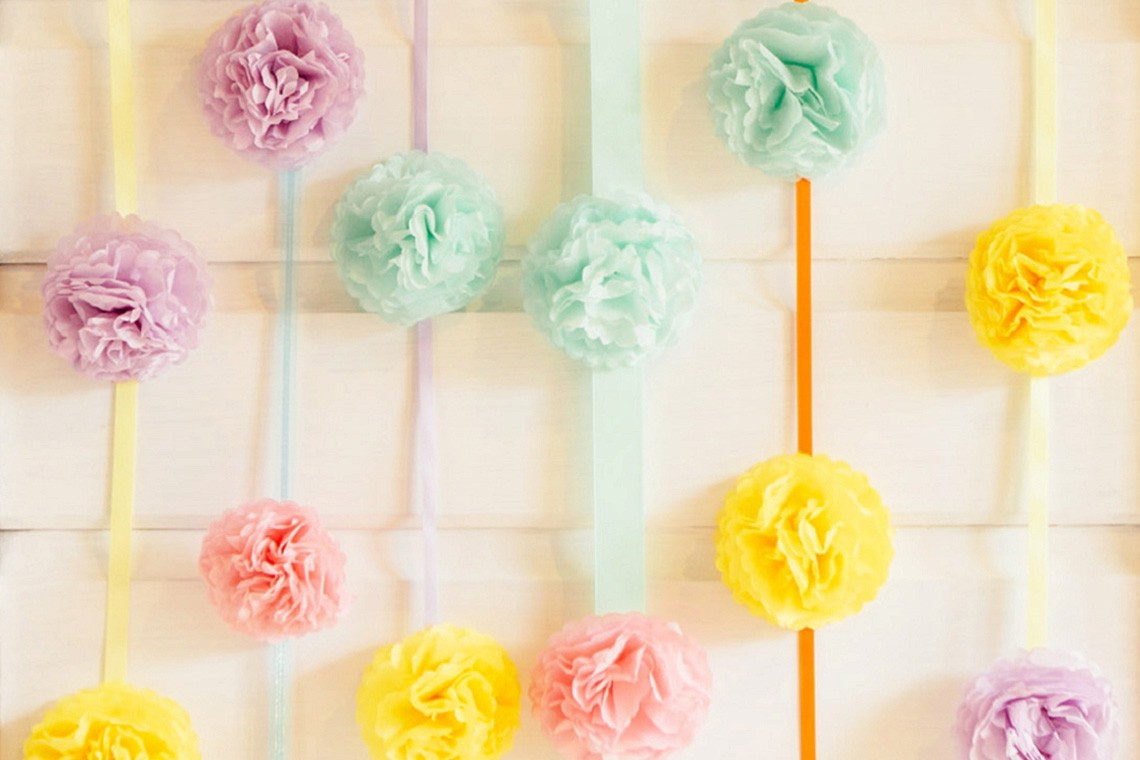 Diy pastel pompom party backdrop by hip hip hooray weddings february 9 2015 decor inspiration diy solutioingenieria Images