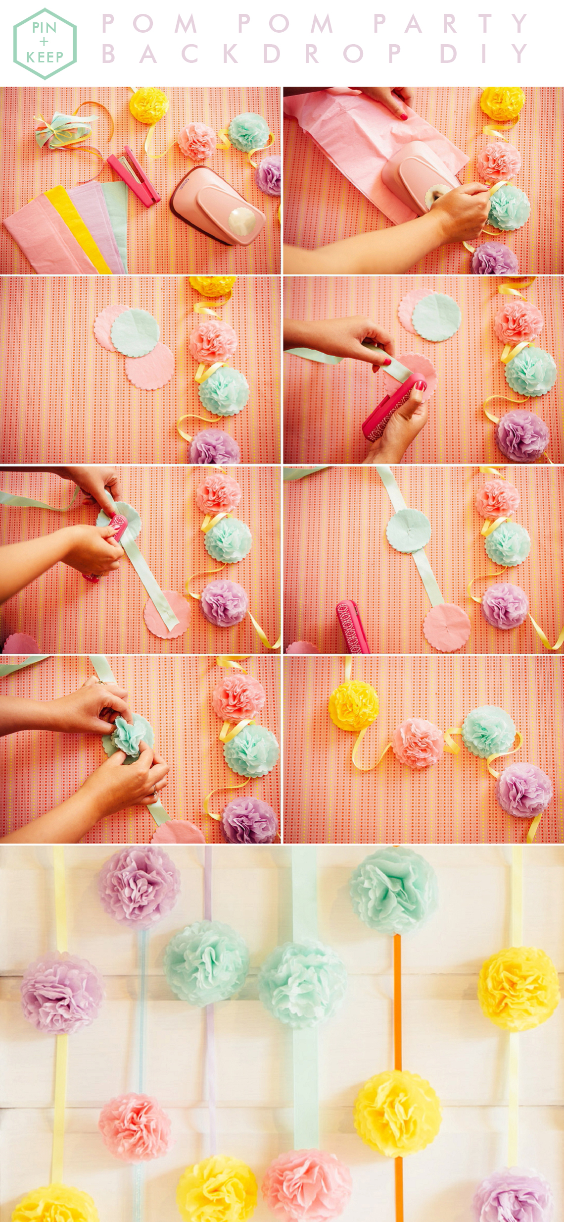 Wedding Party DIY Pom Pom Garland Backdrop by Hip Hip Hooray for BLOVED Blog