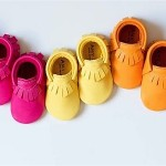 Brightly coloured baby moccasins