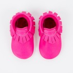 bright pink leather baby moccasins