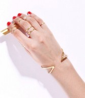 geometric gold bangle & rings
