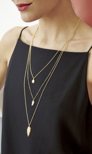 gold pendant necklaces on black