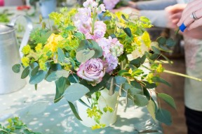 Pastel spring flower arrangement