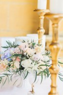 pastel wedding flowers & gold candlesticks