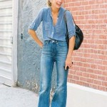 double denim flares and shirt