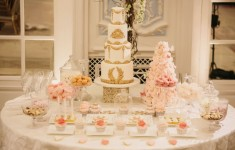 opulent pink and gold wedding cakes