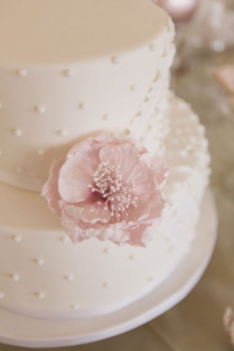 polka dot and pink peony sugar flower cake