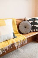 yellow & grey hall decor