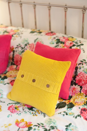 pink & yellow floral bedroom