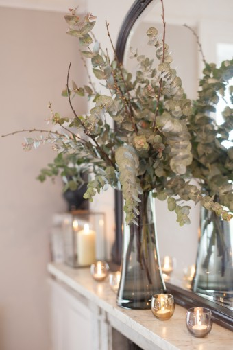 mantlepiece decor with eucalyptus