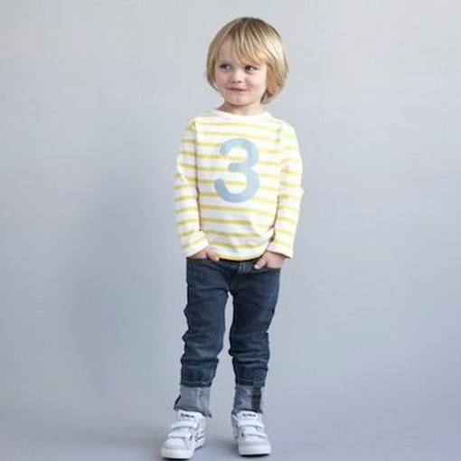Number Three Yellow & Grey Striped Kids Jumper