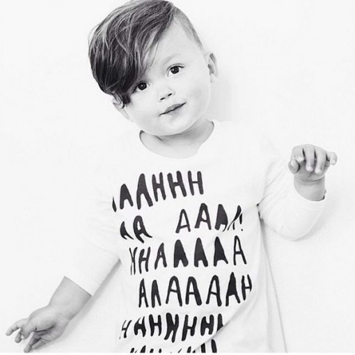 Black typography kids t-shirt