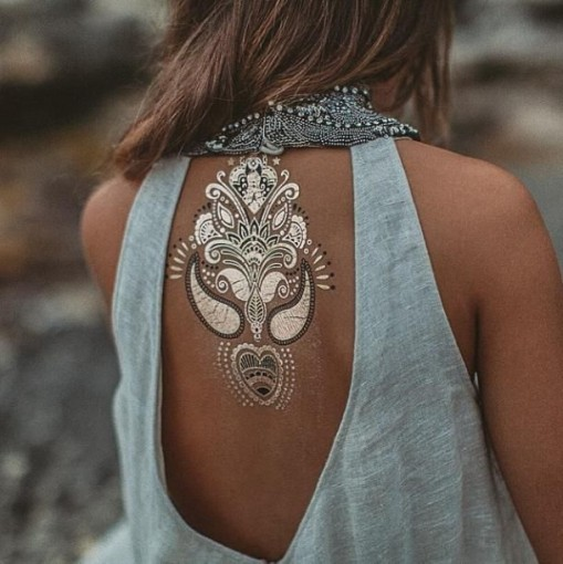 temporary gold back tattoo