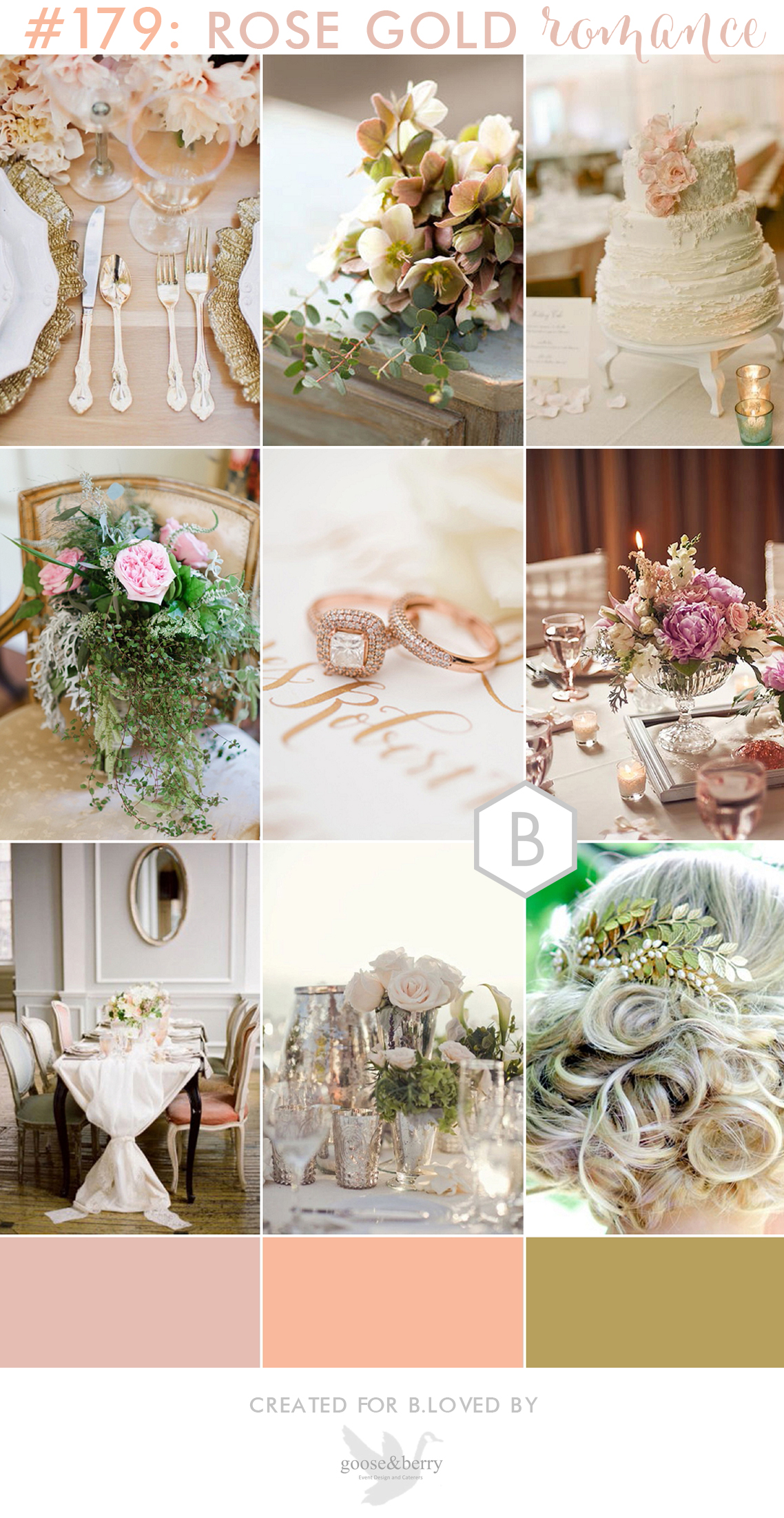 179 goose & berry copper rose wedding inspiration board for bloved