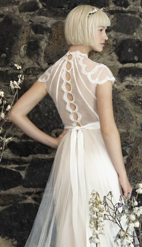 pretty back detail wedding dress