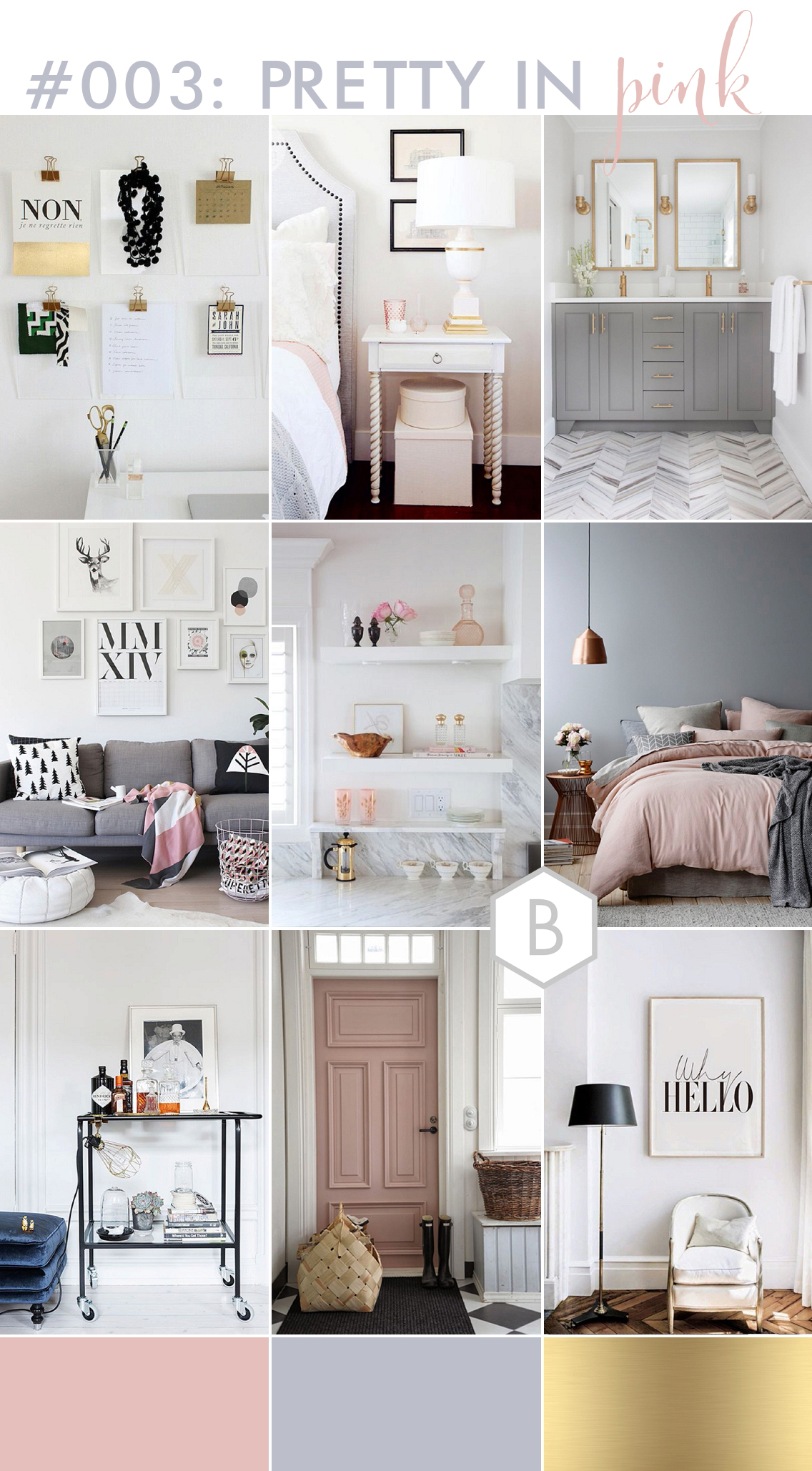 pink, grey & gold interior inspiration