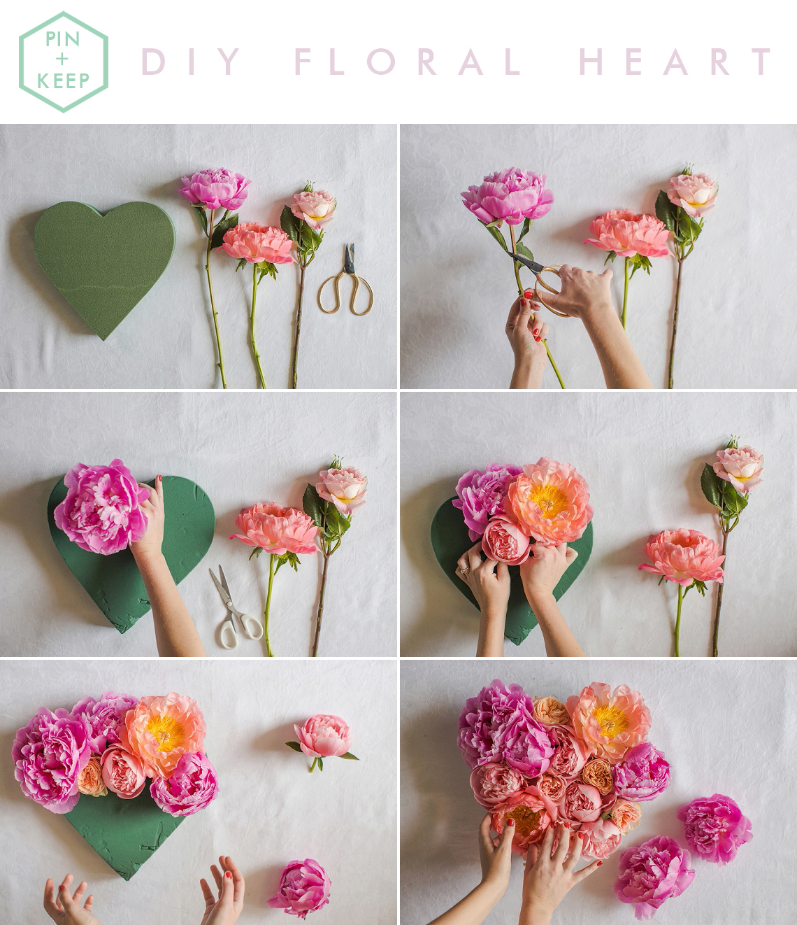 Fresh Floral Heart DIY with Roses & Peonies Tutorial