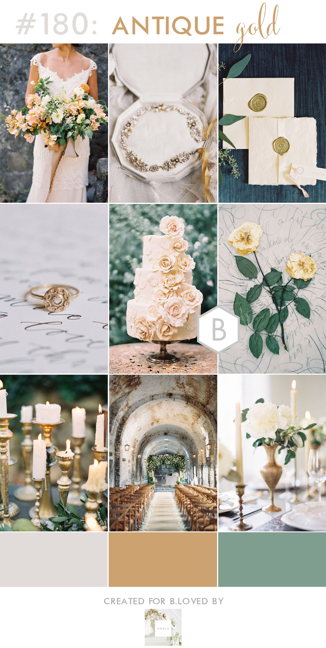 antique gold and green wedding inspiration
