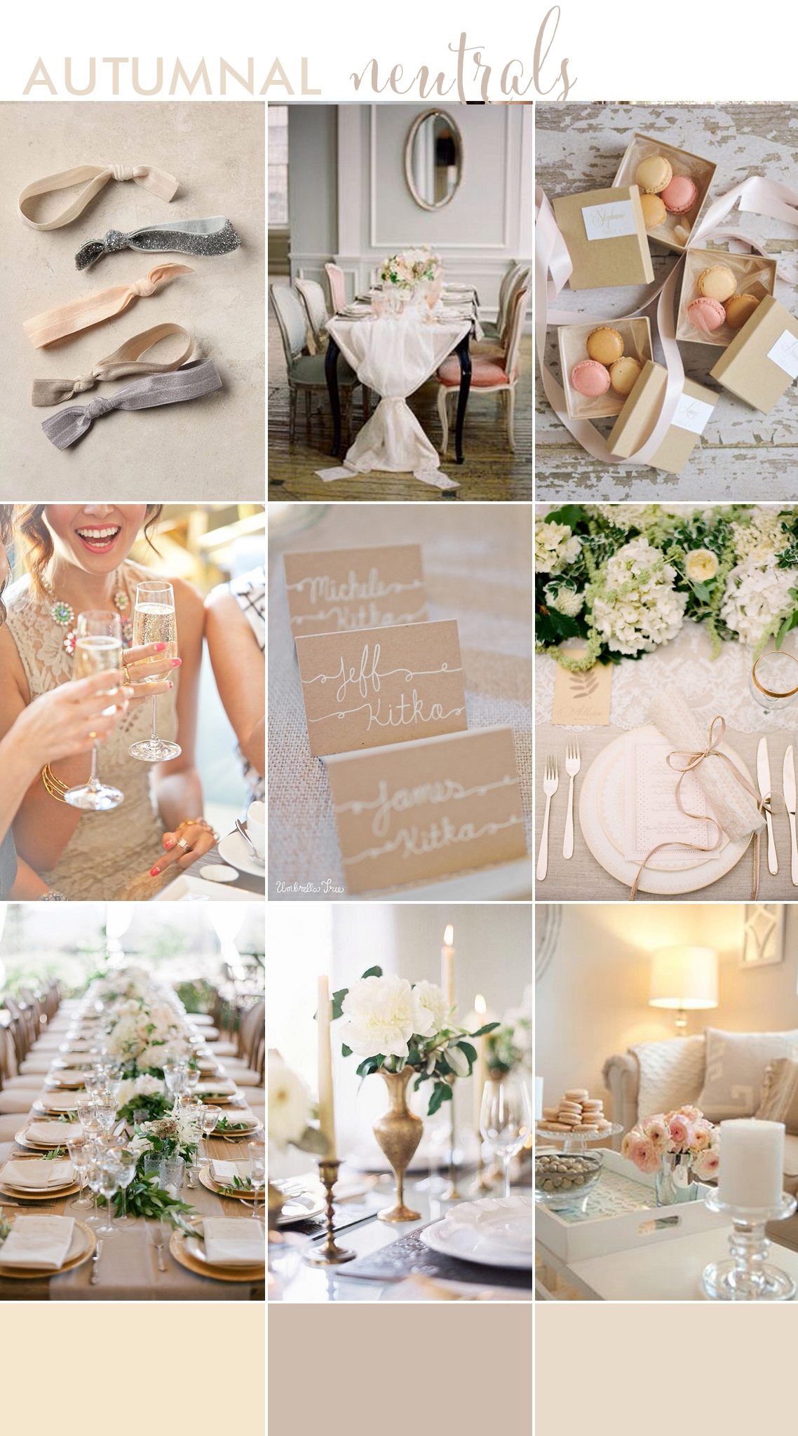 autumnal neutrals dinner party inspiration board for bloved