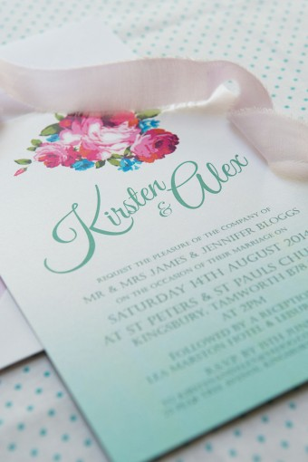aqua ombre wedding stationery