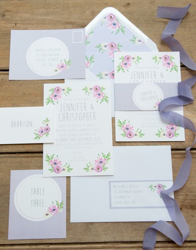 vintage pastel wedding stationery
