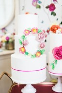 pink & yellow floral wedding cakes