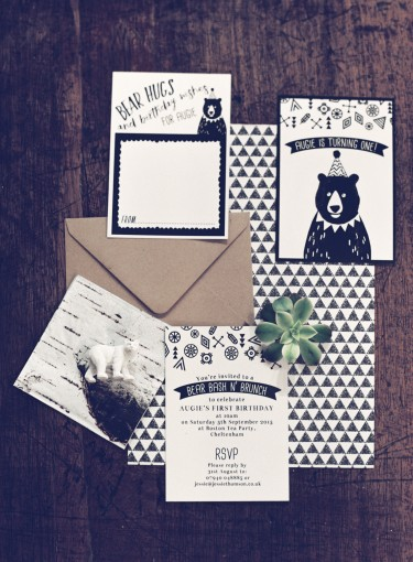 black & white bear first birthday party stationery