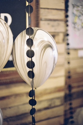 black & white first birthday party decor