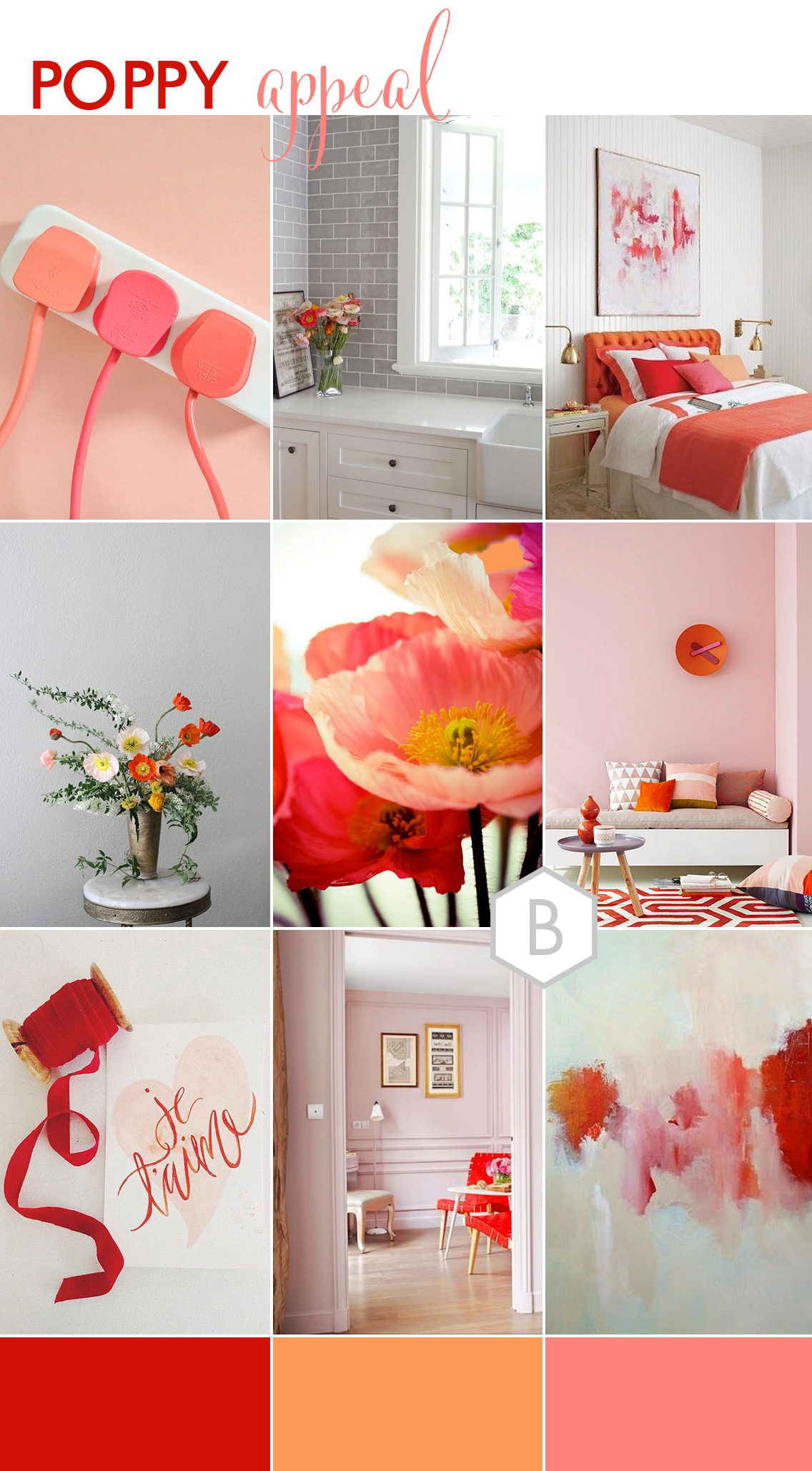 red pink orange poppy home inspiration board