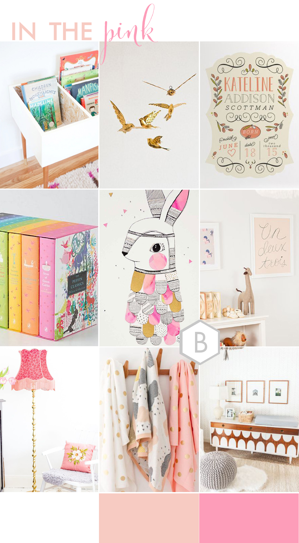Pink Girls Nursery Inspiration Board by Catharine Noble