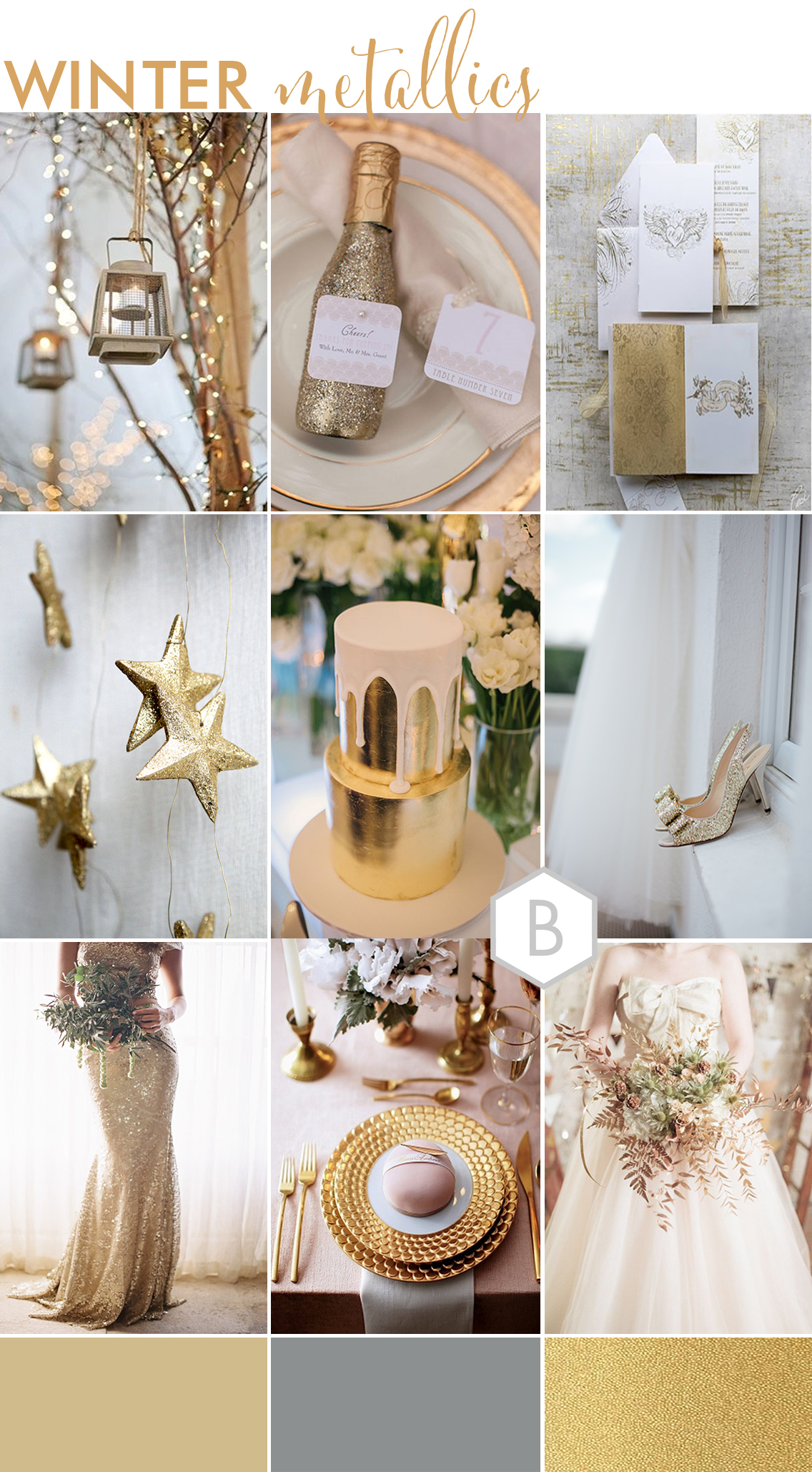 BLOVED wedding inspiration winter metallics