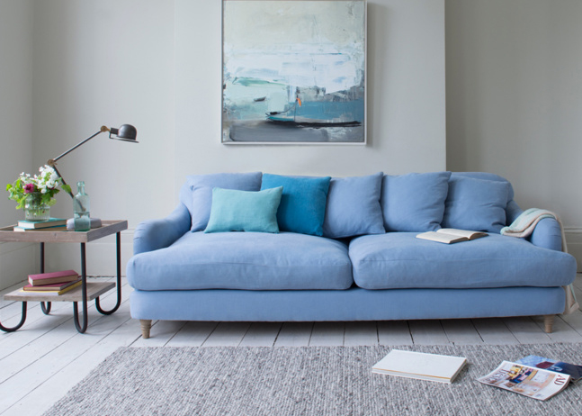 Achilles sofa in China Blue brushed cotton